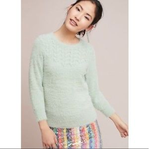 ANTHROPOLOGIE Mint Green Fuzzy Aubade Sweater